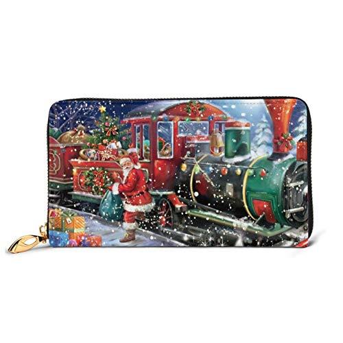 Santa North Pole Train Cartera de cuero impreso para mujer con cremallera bolsa de embrague de viaje tarjeta de crédito titular monedero