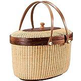SSMDYLYM Cesta de Picnic de Almacenamiento con Cubierta Cesta de Comida de Pan Uso en el hogar Caja de decoración de Acabado de Almacenamiento de Tejido Hecho a Mano (Color : Brown)