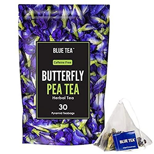 BLUE TEA – Butterfly Pea Flower – 30 Pyramid Tea Bags | Premium Zipper Pack | Makes Natural Blue Purple Pink Iced Tea, Cooler, Cocktails , Mocktails | Herbal Tea – Tisane – High on Anti Oxidants
