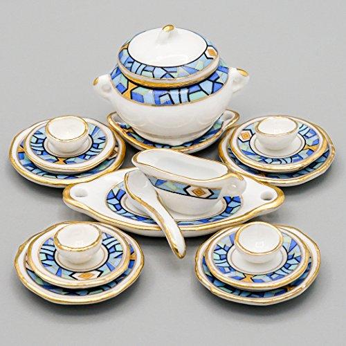 Odoria 1/12 Miniatur Geschirr 17 Stück Mediterranen Stil Geschirr Set Für Puppenhaus Küche Zubehör