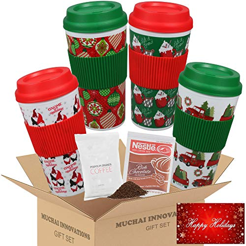 Holiday Travel Mug Gift Set | Christmas Themed Design | 4 Double Wall Plastic Tumblers, Lids & Sleeves, Plus Free Coffee & Cocoa Samplers & Gift Tag - 16 Oz