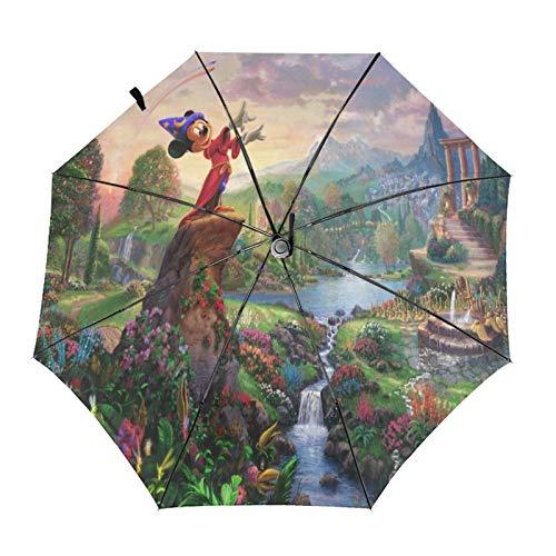 Paraguas Anti-Ultravioleta Compacto De Viaje Triple De Apertura/Cierre Automático, Sombrilla Plegable A Prueba De Viento para Exteriores, Jardín del Bosque de Mickey Mouse de Disney