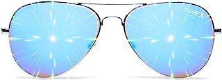 GloFX Metal Pilot Aviator Style Diffraction Glasses – Blue Mirror