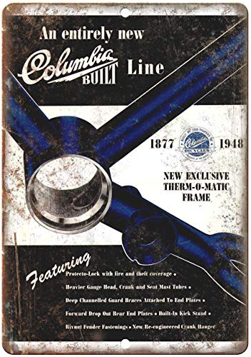 Decorative Vintage Retro Metal Sign 1948 Columbia Bicycle Therm-O-Matic Frame Ad Retro Look Metal Sign