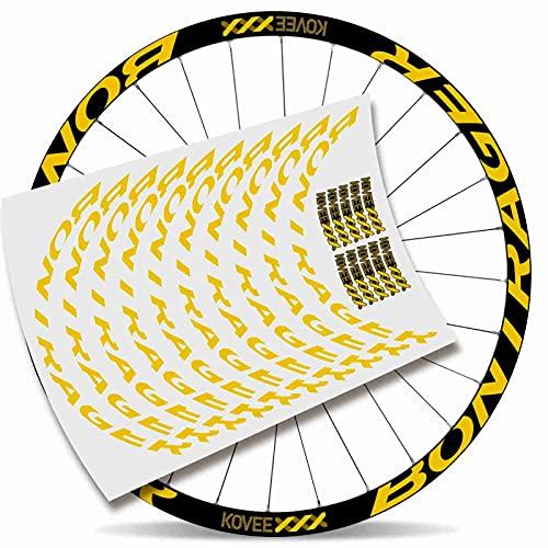 Kit Pegatinas Bicicleta Stickers LLANTA BONTRAGUER COVEEXXX 29' BTT MTB Bike (Amarillo Claro)