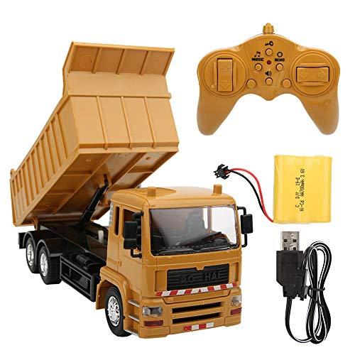 Modelo de camión de volcado de control remoto, vehículo de ingeniería de control remoto de música ligera Modelo de camión de volteo RC con regalo recargable para niños Excavadora RC funcional completa