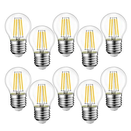 EXTRASTAR Filamento LED E27, 4W Equivalenti a 35W, 400Lm, 3000K Luce Calda,G45 Stile Vintage, Non Dimmerabile, Confezione da 10 Pezzi [Classe di efficienza energetica A++ ]