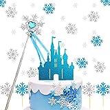 Decoración de pastel de reina de hielo, decoración de pastel de copo de nieve con confeti de copo de nieve de castillo, plata blanca, niña de decoración de pastel, adorno de pastel de boda