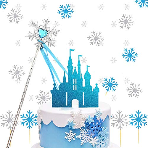 BOYATONG Eiskönigin Tortendeko, Schneeflocken Tortendeko mit Schloss Schneeflocke Konfetti Weiß Silber, Kuchen deko mädchen, hochzeitstorte Cake Topper, Weihnachten Kuchendeko