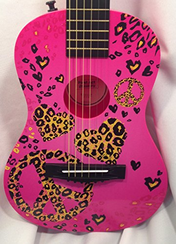 First Act Discovery Designer Series Acoustic Guitar for Children - Pink with Cheetah Print Stickers