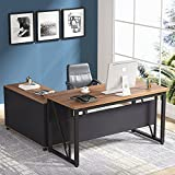 Tribesigns L-Shaped Computer Desk, 55 inches Executive Desk with 43'lateral File Cabinet, Gaming Desk Business Furniture with Drawers and Storage Shelves, Rustic Home Office Table