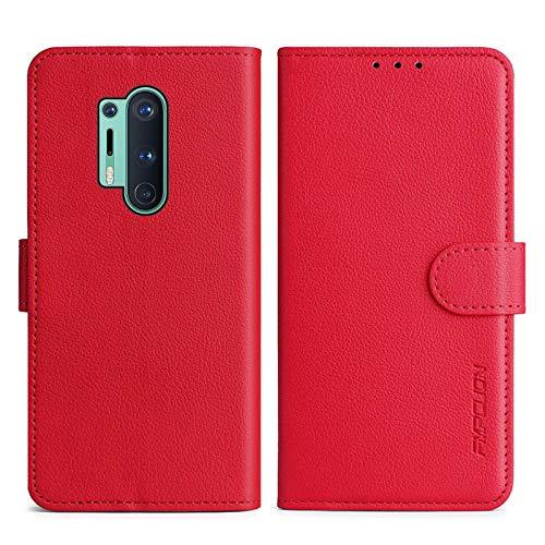 FMPCUON Handyhülle Kompatibel mit Oneplus 8 Pro Hülle Leder PU Leder Tasche,Flip Hülle Lederhülle Handyhülle Etui Handytasche Schutzhülle für Oneplus 8 Pro,Rot