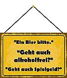 NWFS una cerveza Bitte, ¿también está libre de alcohol? Buddel-Bini Versand - Cartel decorativo (metal, 20 x 30 cm, con cordel)