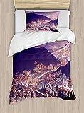 ABAKUHAUS Urbano Funda Nórdica, Horizonte De Busan Corea, 1 Funda para Almohada Set Decorativo de 2 Piezas, 264 x 220 cm, Violeta Púrpura