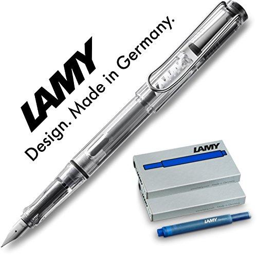 Lamy FH15151 -Füllfederhalter Vista, Feder: F,Modell 012, transparent + Nachfüllset (10 Patronen blau)