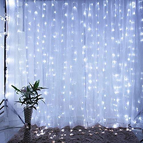 LED Lichterkette Solar Lichtervorhang 3x3m mit 300 LEDs 8 Beleuchtungsmodi für Zimmer Deko Weihnachten Hochzeit,...