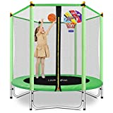"Lovely Snail 5FT Trampoline for Kids with Safety Enclosure Net Basketball Hoop, Mini Trampoline 60"" for Outdoor Indoor Family Backyard School Entertainment, Age 3-10"