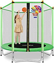 Lovely Snail 5FT Trampoline for Kids with Safety Enclosure Net Basketball Hoop, Mini Trampoline 60