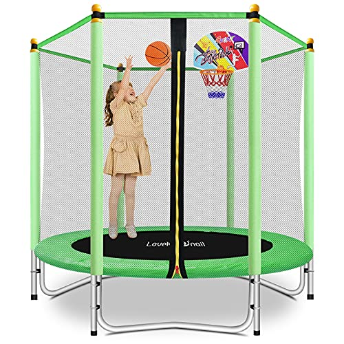 Lovely Snail 5FT Trampoline for Kids with Safety Enclosure Net Basketball Hoop, Mini Trampoline 60'...