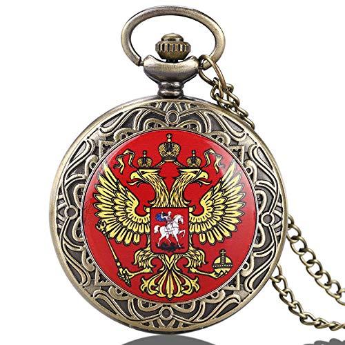 ZHAOXIANGXIANG Taschenuhr,Russische Doppelkopfadler National Emblem Dome Gedenkabzeichen Design Taschenuhr Kunstsammlungen Für Männer Frauen