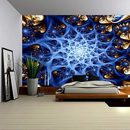 Toallas de colores impresas de bosque psicodélico, estilo mandala bohemio irrealista, utilizadas para decorar salas de estar, dormitorios, etc. 130 x 150 panal azul 12