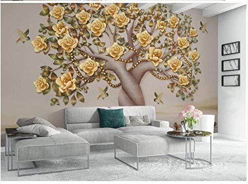 Behang reuzenposter met de hand geschilderd olieverfschilderij verband boom-bloemen en vogel-behang-effect van de muurschilderij 3D 430 cm x 300 cm.