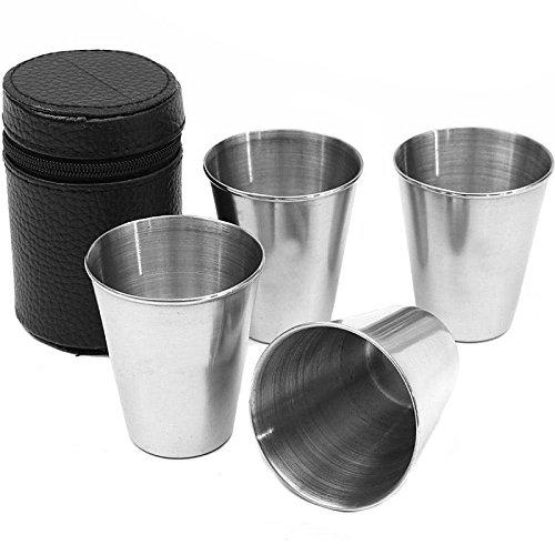 Asdomo 4 pcs/Ensembles 75 ml Premium Gobelet à eau extérieur en acier inoxydable Vin Thé café à boire en métal Verres à shot coupelles à bords Tasses 70,9 gram (Tasse portables inclus)