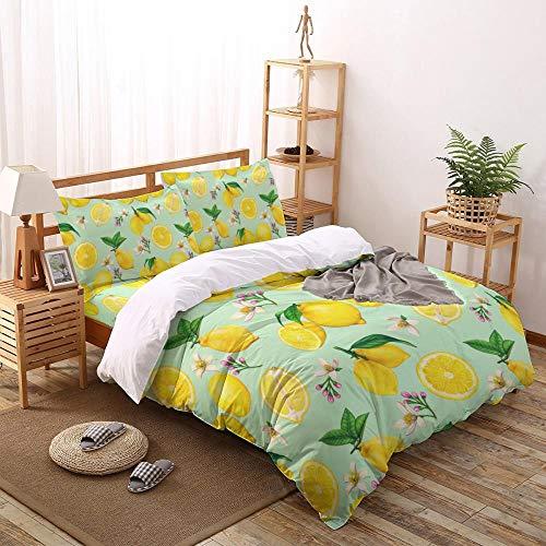 Juego de Funda nórdica de Flores de limón de Verano Juego de Cama de 2/3/4 Uds con Funda de Almohada Juego de Cama Textiles para el hogar Juegos de edredón