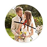 Personalized Picture Frames Square/Round/Heart Shape Rock Slate Stone Custom Photo Tabletop Frames Keepsake Christmas/Birthday Gift- Display on Desktop&Table Top (Clock Design, Round)