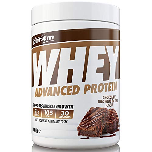 per4m Protein Whey Powder | 30 Servings of High Protein Shake with Amino Acids | for Optimal Nutrition When Training | Low Sugar Gym Supplements (Chocolate Brownie Batter, 900g)