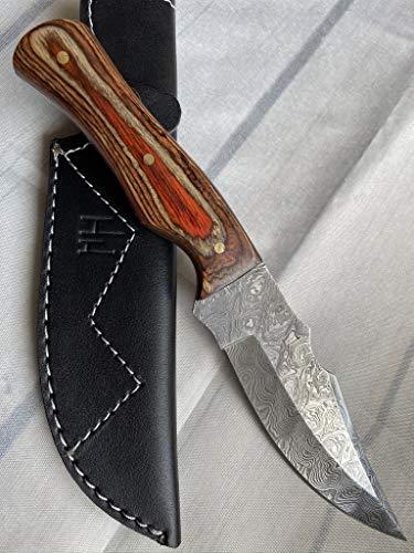 Hobby Hut HH-339 24,76 cm Damaststahl-Jagdmesser mit Scheide, Messer mit Fester Klinge, Griff aus Walnussholz, scharfes Messer, entwickelt für Jagd und Camping