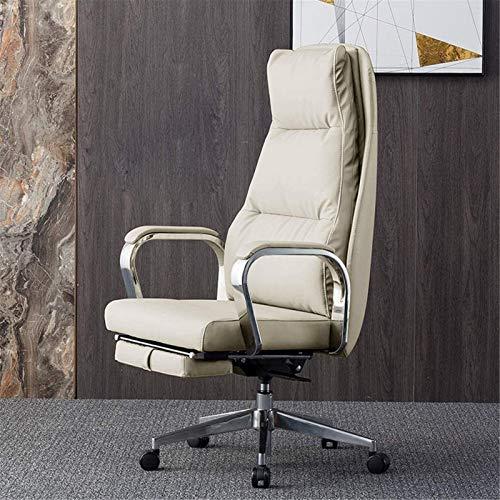 Ligero Silla de cuero de cuero, silla de oficina, silla de computadora reclinable, silla ejecutiva de negocios, silla de estudio de espalda alta látex Cojín de resorte (Color: Cuero de vaca negro)