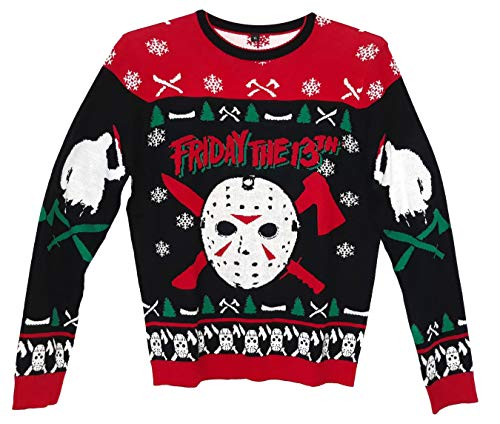 Friday The 13th Jason Holiday Knit Sweater Mens Pullover, Red, Medium