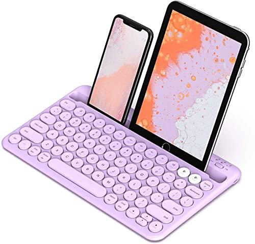 Juplay Teclado Bluetooth para varios dispositivos, recargable e inalámbrico Jelly Comb para cambiar a 2 dispositivos para teléfono móvil, tableta, PC, Smart TV, MacBook iOS Android (Purple)