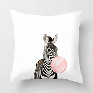 Asamour Adorable Animal Blowing Bubbles Gum Decorative Pillow Covers Super Soft Throw Pillow Case Cushion Cover 18''x18'' for Home Sofa Decor (Zebra)