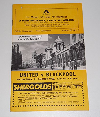 Oxford United FC v Blackpool FC Official Football Programme Wednesday 21 August 1968