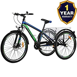 VANELL Adult Mountain Tricycle 7 Speed Three Wheel Cruiser Trike Bike with Front Suspension Fork Front Disc Brake MTB Tire Bicycle Low-Step Through Frame/Large Basket for Men/Women/Seniors/Youth