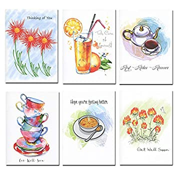 Get Well Greeting Cards Assorted 30 cards w/ messages inside  6 Designs  USA Made + 32 Envelopes