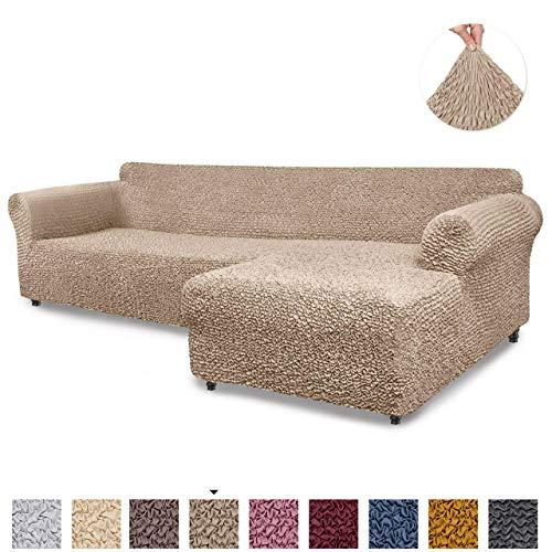 Menotti Ecksofa-Überzug in L-Form, für Sofa und Sessel, elastischer Stoff, Leinen, camel, L-Shape Right