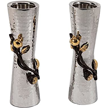Yair Emanuel Large Hammered Candlesticks with Pomegranate Branch
