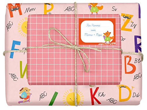 4x dabelino Geschenkpapier Einschulung für Mädchen/Kinder (doppelseitig, rosa) + 4 Aufkleber/Schulheft-Etiketten (Schulanfang, Schule, Schulkind) | (Einzelbögen 42x59cm, DIN A2)