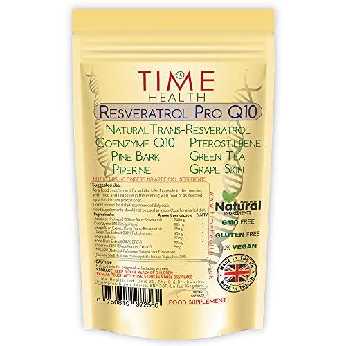 Resveratrol Pro Q10 Anti-verouderingsformule , Trans-Resveratrol, Co-enzym Q10, Pterostilbeen, Pijnboomschors, Groene Thee, Druivenschil, Piperine - Gesplitste dosis voor maximale anti-verouderingsvoordelen van Resveratrol and Q10 – In het VK Vervaardigd – Zonder Toevoegingen – Pullulan (120 capsules)