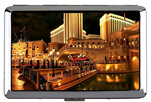 Zigarettenetui Halter, Stadt Las Vegas Hotel Venedig Brücke Schöne Helle Lichter der Nacht beleuchtet Spiegelung Wasser Visitenkartenhalter Edelstahl (Silber) A331