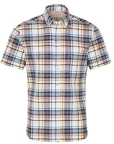 eterna Kurzarm Hemd, Regular fit, Upcycling Shirt, Oxford kariert Größe 44, Farbe türkis