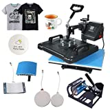 Heat Press Transfer Machine 5 in 1 Combo Multifunctional Swing Away Clamshell Printing Sublimation for T-Shirt Hat Cap Mug Plate 15' x 12'-Shirt Printing (Black&Bleu, 5 in 1)