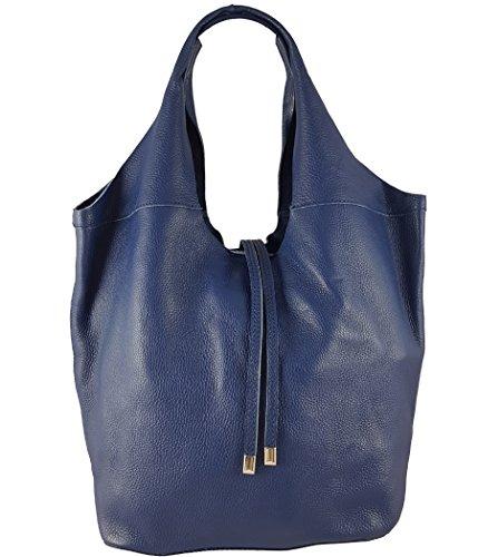 Freyday Echtleder Shopper mit Schmucktasche in vielen Farben Schultertasche Damen Henkeltasche S05 (Blau)