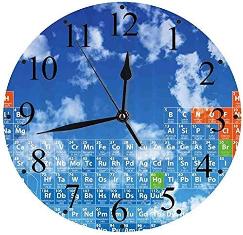 JSYHXYK Reloj De Pared Reloj De Pared Ciencia Silenciosa Cielo Despejado Claro con Nubes Y Patrón De Tabla De Química Reloj De Pared con Estampado Inteligente para Estudiantes
