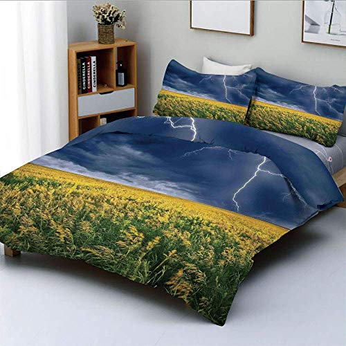 Duvet Cover Set,Lightning Bolt above the Seasonal Field Electric Vibes Mother Nature Theme Image Decorative 3 Piece Bedding Set with 2 Pillow Sham,Yellow Blue,Best Gift For Kids