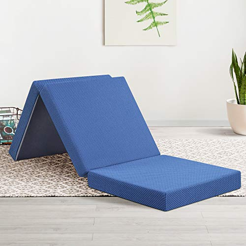 Olee Sleep Tri-Folding Memory Foam Topper, 4'' H, Blue