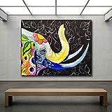 ganlanshu Pintura sin Marco Elefante Abstracto Moderno Pintura al óleo Lienzo Animal Cabeza decoración Sala Imagen de la paredZGQ3592 70X105cm